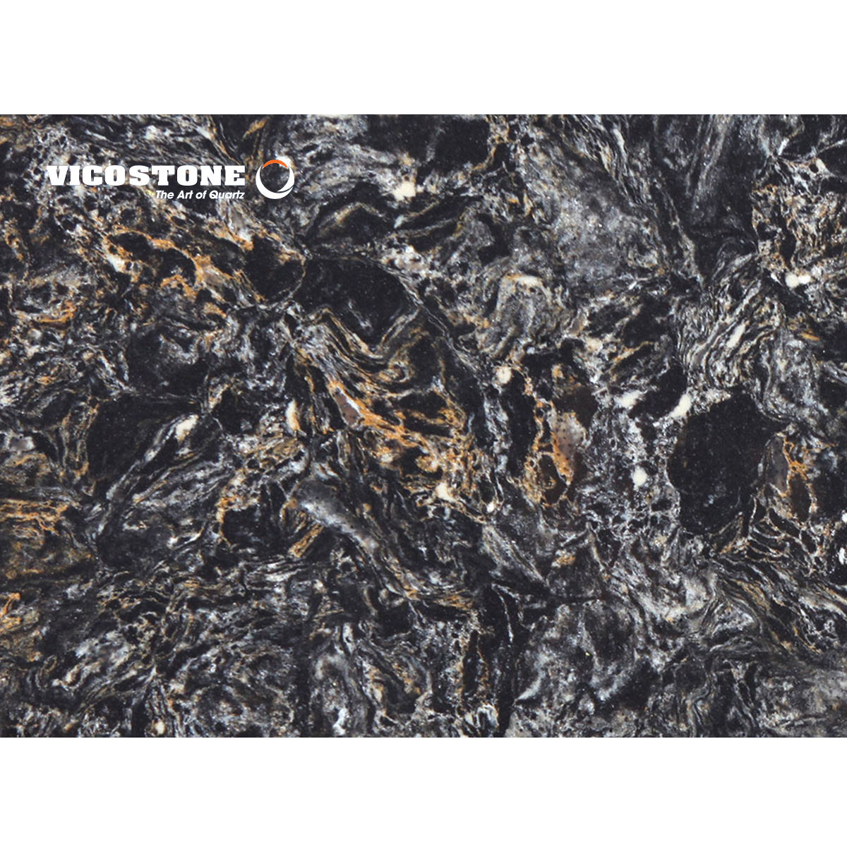 Black With Swirls of White and Saffron Quartz Stone - Vicostone Cosmic Black BQ9427