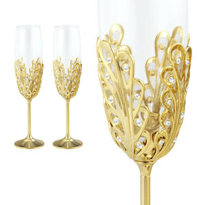 Crystocraft Luxury 24k Gold Plated Wedding Champagne Flutes K9 Glasses Decorated with Crystals from Swarovski Wedding Gift