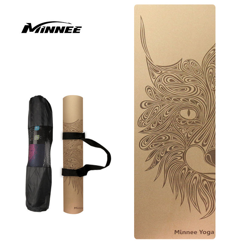 MINNEE Full Color Printed Natural Cork Rubber Yoga Mat