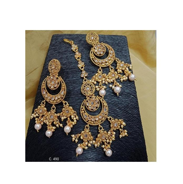 Brand New Latest Design Maang Tikka Earring Set At Cheapest Price