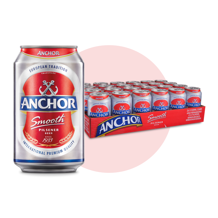 Anchor Smooth 24-Can Pack Pilsener Beer Price (320ml x 24)