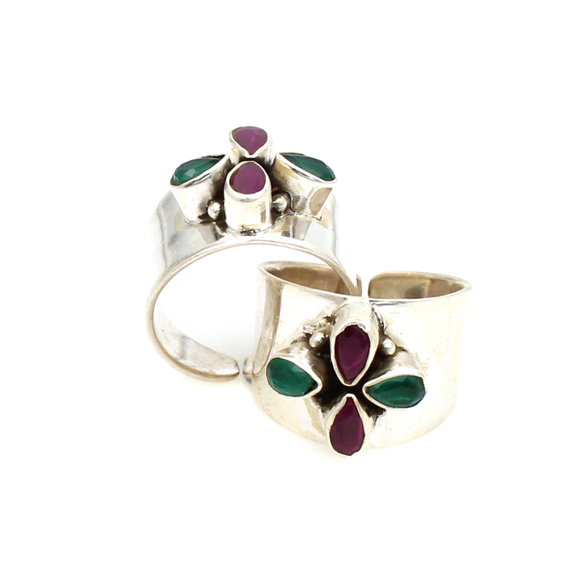 Drop Shipping Zilveren Ring Breed Sterling Zilver Teen Ring Met Marquise Vorm Granaat En Emerald Stone