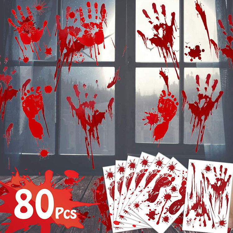 Nicro 80Pcs Window Door Handprint Footprint Decals Bloody Stickers Halloween Decoration