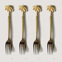 Brass Dessert Fork with Palmtree End Ribbed Handle