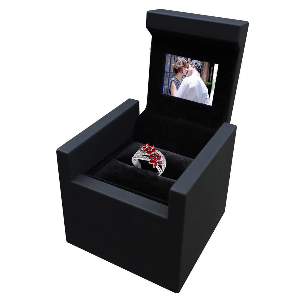 customize creative hotsale new design unique proposal diamond lcd display screen video jewelry ring box