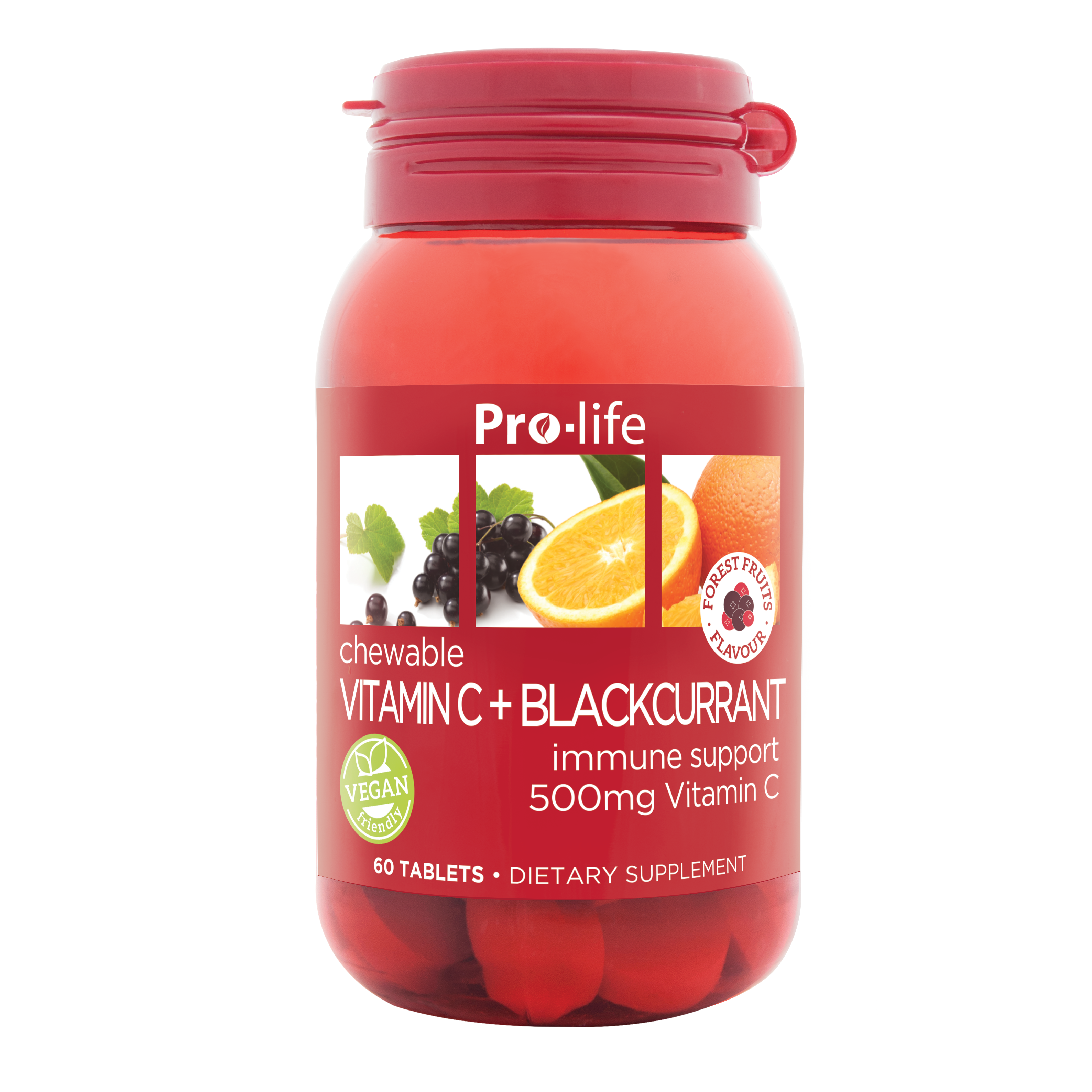 Pro-life Vitamin C + Blackcurrant Chewable | Support Immunity, Circulation and Heart Health with Forest Fruit Flavour