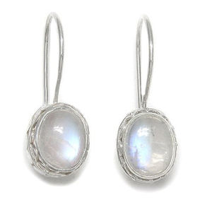 Ethnic earrings 925 sterling silver rainbow moonstone earrings for fine jewelry