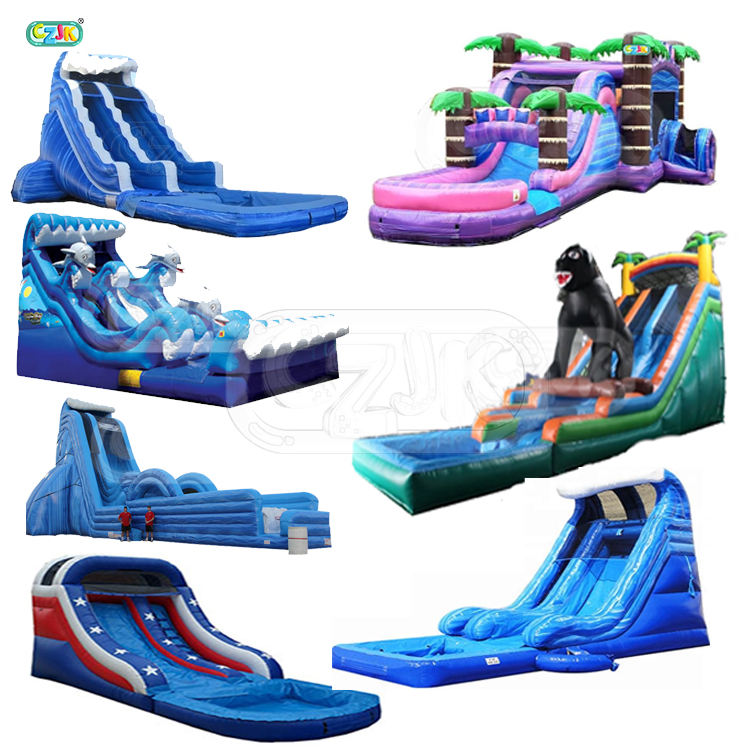 tropical palm tree cheap china dhl jungle inflatable water slide for sale