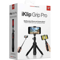 IK Multimedia iKlip Grip Pro Smartphone Stand - Tripod, Monopod, Camera Mount and Grip with Bluetooth Shutter - Black