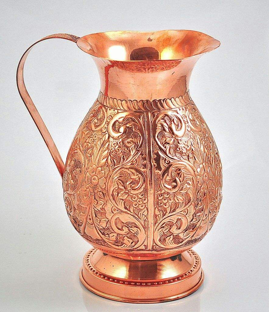 Copper Pitcher w/Copper Handle, Pure 100% Hammered Vessel, Heavy Duty Copper Jug, Handmade, 70 fl. Oz, Best for Water, Ayurveda