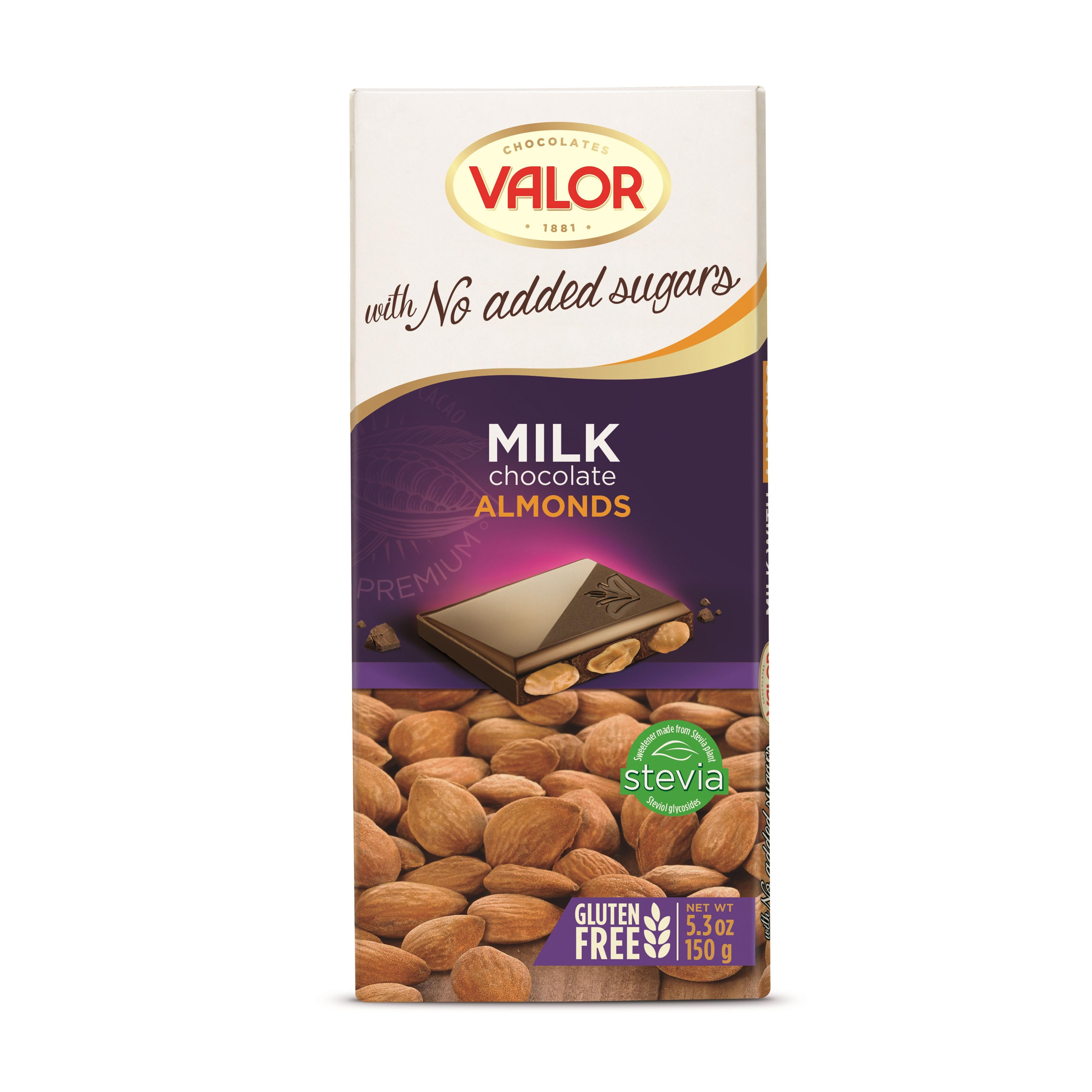 MILK CHOCOLATE WITH ALMONDS NO SUGAR ADDED