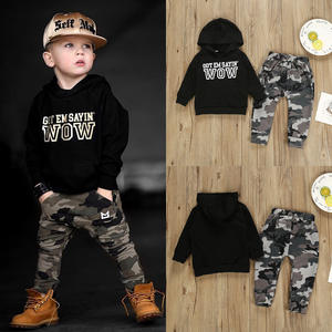 Boys suit autumn new black letters long-sleeved hooded sweater camouflage trousers two-piece children's suit