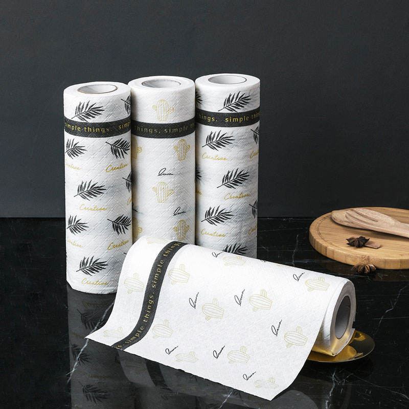 Kitchen Tissue Roll In Stock Wholesale Highly Oil Absorbent Fast Delivery Leaf Embossed Disposable Kitchen Tissue Paper Roll