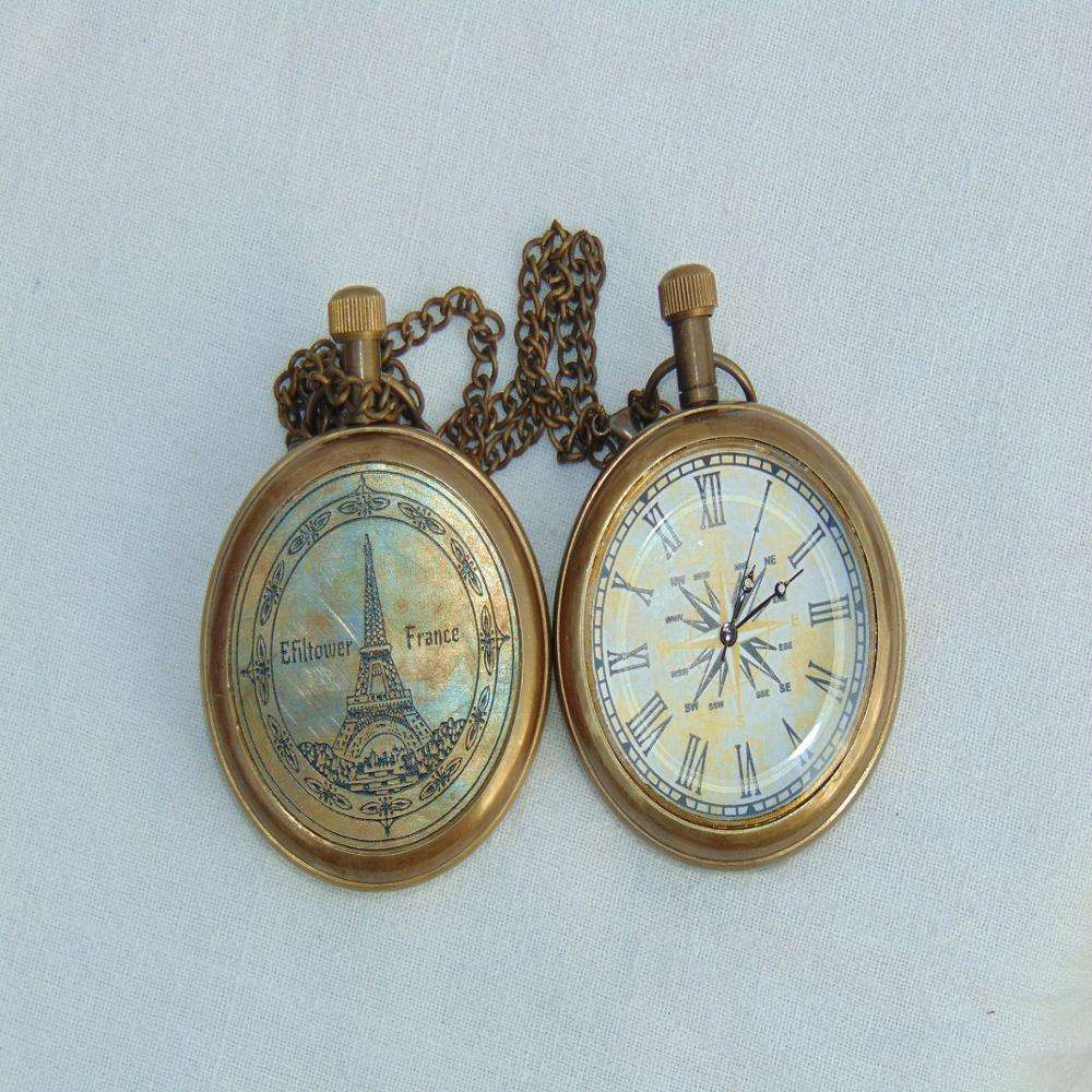 Nautical Eiffel tower Vintage collectible Pocket Chain watch Nautical Antique Brass Pocket chain watch Reproduction