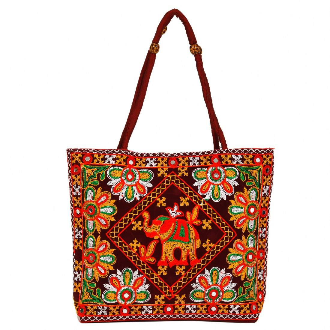 Beautiful Embroidery Handbag Women Tote Shoulder Bag Indian Designer Boho Bag Beach Bag (RBG-101-MAROON)