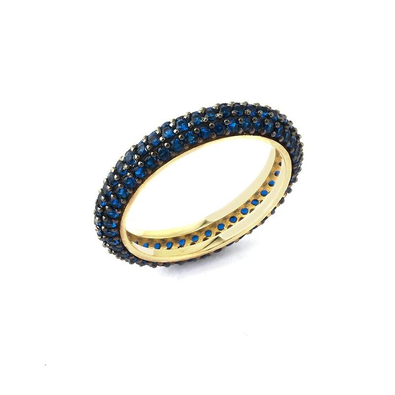 925 Crt Sterling Silver Handcrafted Blue Zirconia Eternity Gold Plated Fashionable Ring Wholesale Turkish Jewelry