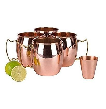 Amazon Hot 100% Pure Copper Party Cup Brass Handle Moscow mule <span class=keywords><strong>kupfer</strong></span> <span class=keywords><strong>becher</strong></span> set von 4