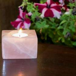 Natural Rose Quartz Tea Light Holder Decorative Candle Light Holder For Home Decor