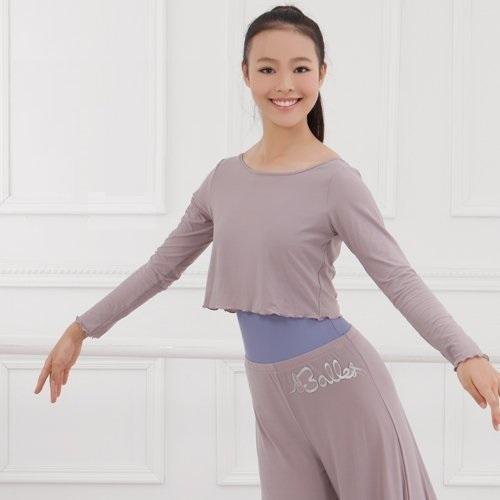 Ballet rolled hem long sleeves top