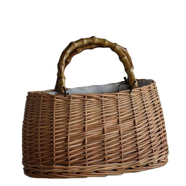 fashion sell well wicker bags with handle
