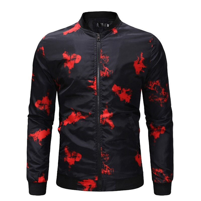 Fashion Red Printed Varsity Jacket Men 2019 Brand New Zipper Bomber Jacket Men Casual Street wear Jackets Coats Vest