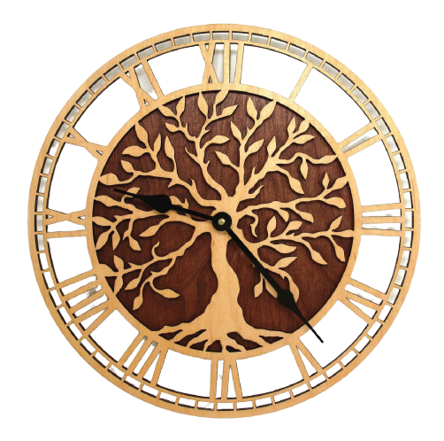 Antique tree design wooden clock face, wooden quartz clock made in Vietnam now on sale