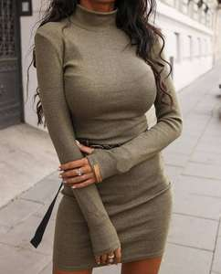 High Collar Hollow Out Bodycon Casual Ladies Dresses Sexy Women Clothes