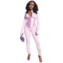 Kliou P1738566 2021 New Arrivals Autumn V-Neck Long Sleeve Womens 2 Piece Outfits Skinny Corset Jumpsuit