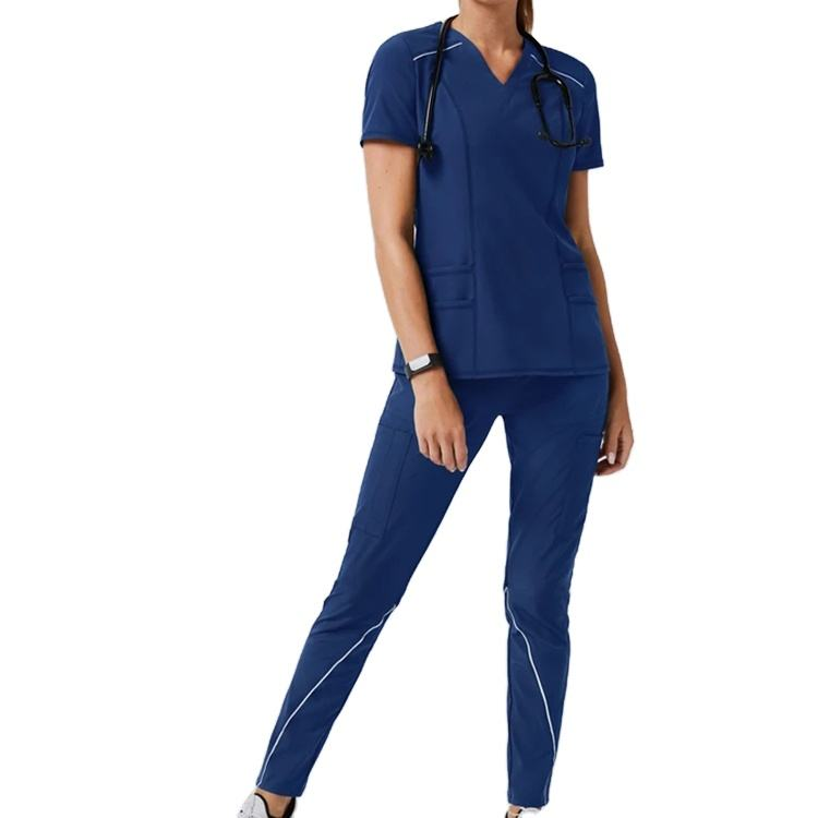 Cherokee Style Stretch Long Sleeves Hospital Uniforms Suit Women Nurse Scrubs And Medical Uniforms