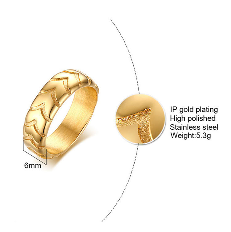Mens Punk Tire Tread Finger Rings Unique Design Gold Tyre Print Stainless Steel Rings For Cool Men