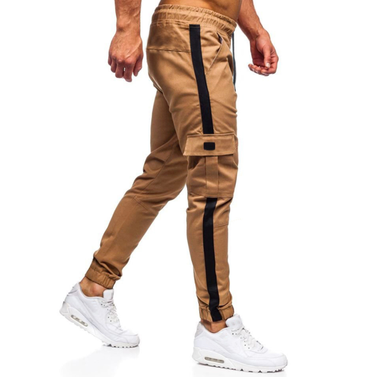 Wholesale Men der Stretch Khaki Baggy Pants Plain Drawstring Cargo Pants Utility Trousers Pants With Pockets