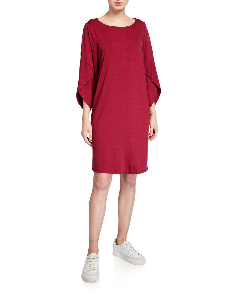 2020 OEM wholesale Party wear Ballet-Neck 3/4-Sleeve Shift Dress solid dress with sleeve detailing.