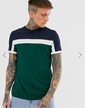Wholesale High Quality dri fit Custom Cotton T-shirt with Colour Blocks Panels in Green