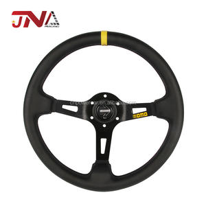 Most popular High Performance Black Leather Material Steering Wheel with Horn button