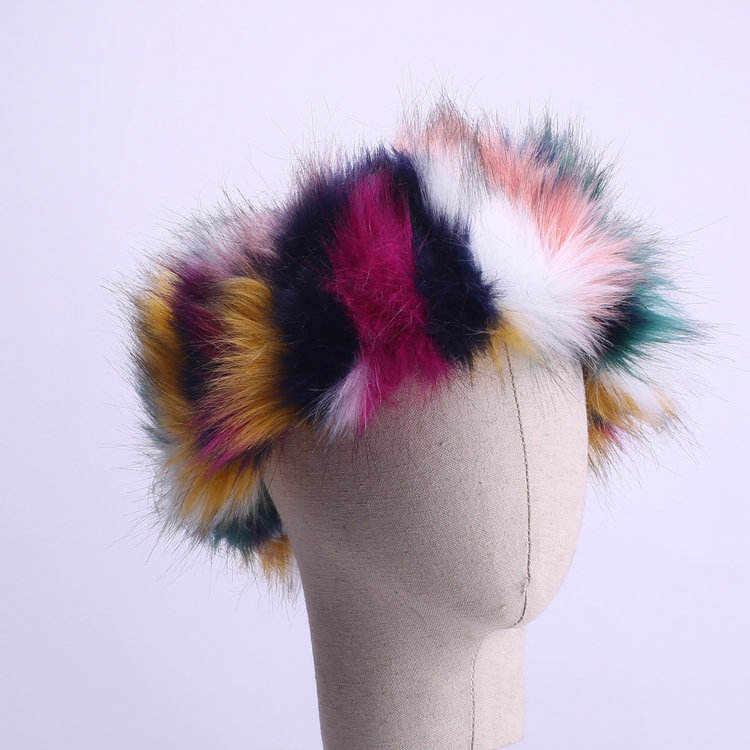 wholesale colorful winter furry faux fox fur women headband