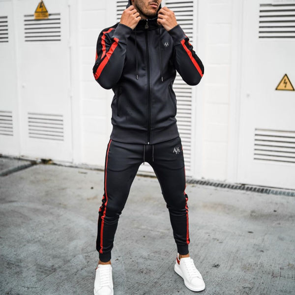 Red stripe Tracksuit men's hooded tracksuit or fitness Bodybuilding tracksuit sweatsuit men's custom sweatsuit