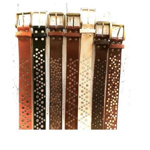 hand-crafted studded genuine argentine leather belt
