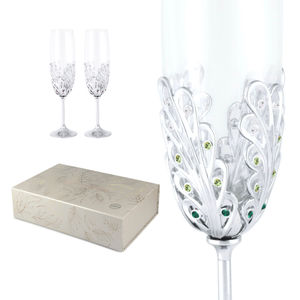 Crystocraft Luxury Champagne K9 Glasses with Crystals from Swarovski Wedding Flutes Gift for Newly Married Couple Toasting