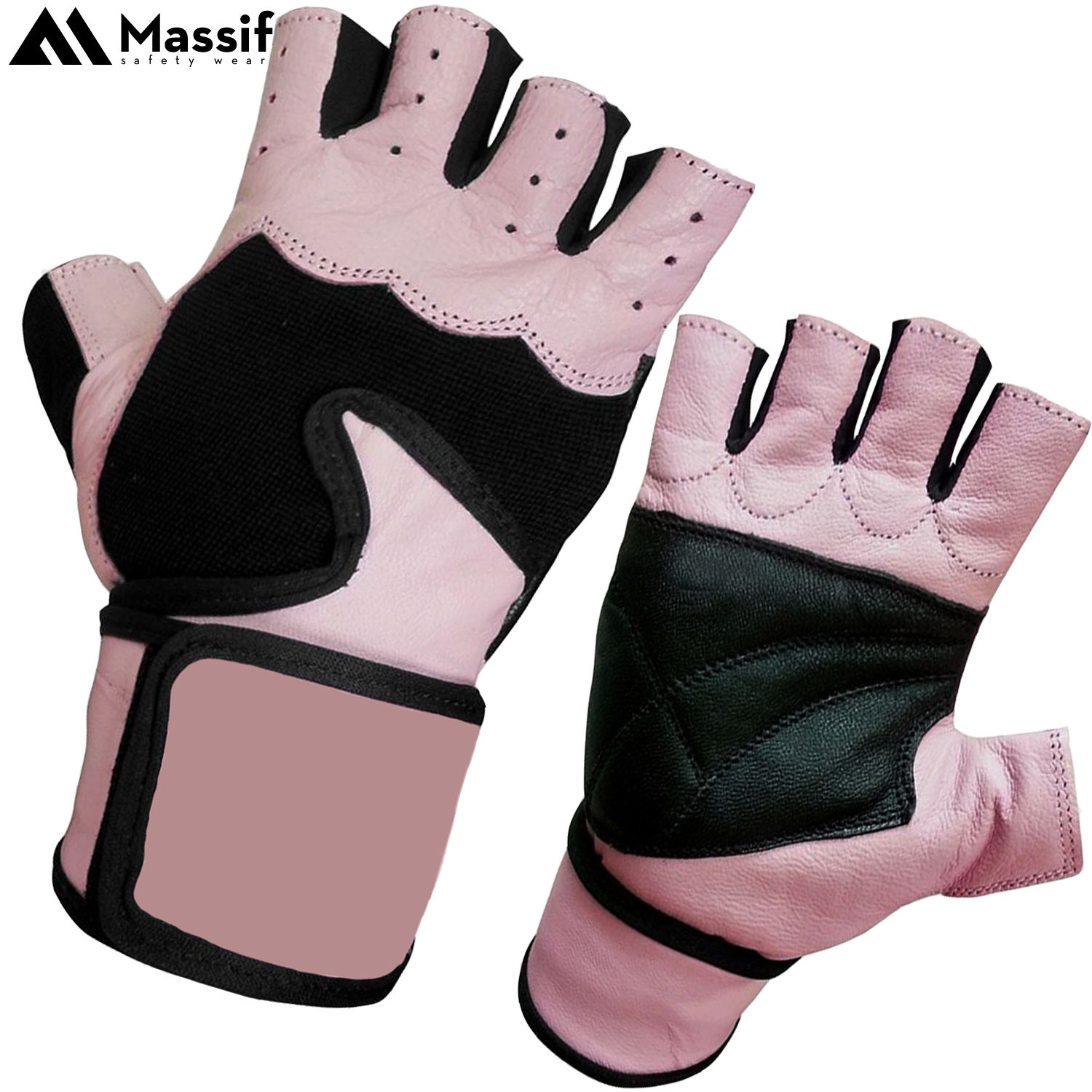 Pink Ladies Leather Workout Exercise Fitness Gymnastic Palm Protection Padded Gloves for WOD's, Dumbbell Specially for Women