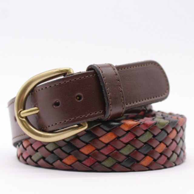 Unisex leather belt multicolor woven finished with an elegant matte golden buckle. Inspired by the warm colors of Tuscany.