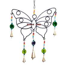 Large butterfly shape wrought iron art craft decoration metal wind chime
