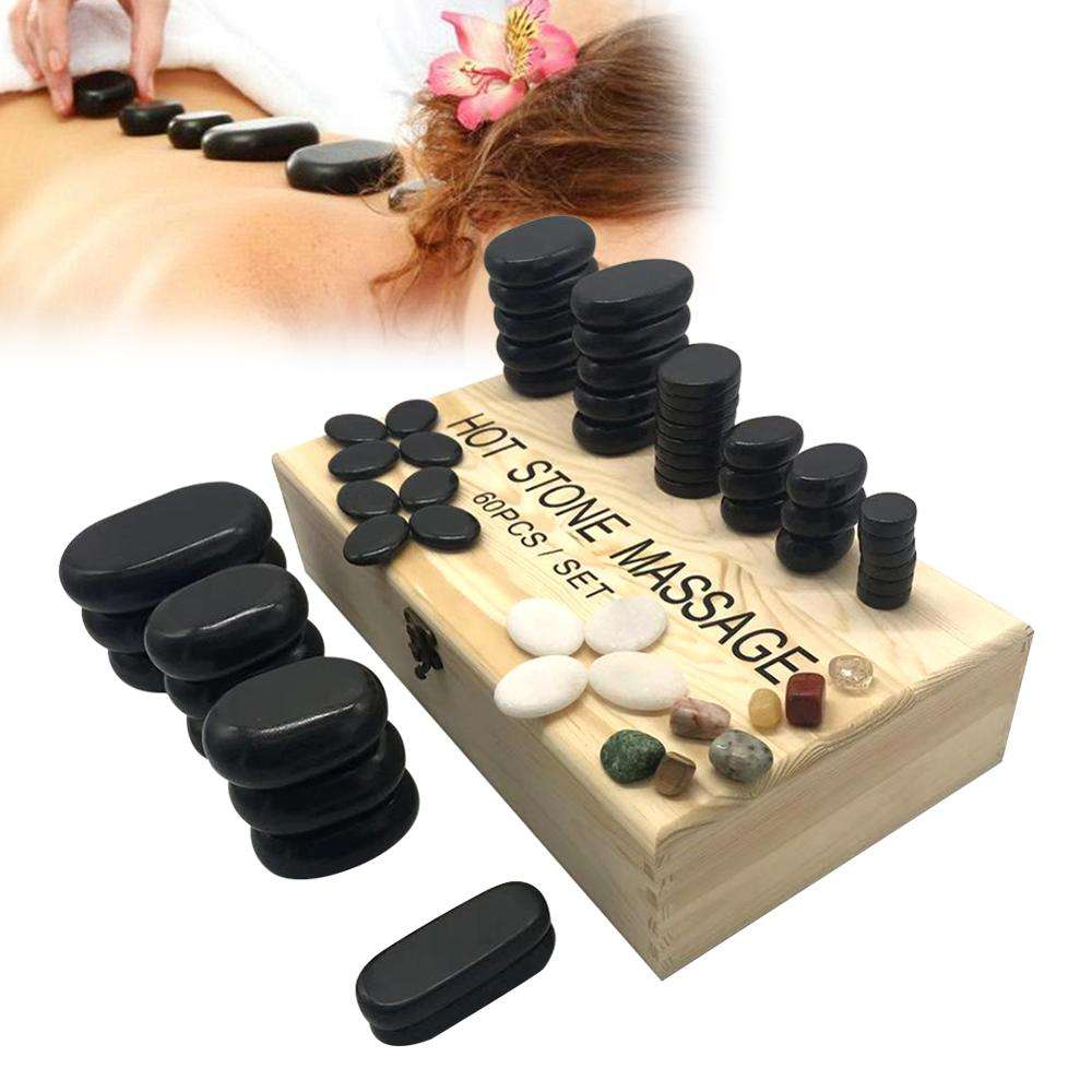 Massage Stone Set SPA Black Basalt Energy Hot Stone 60 Piece Set