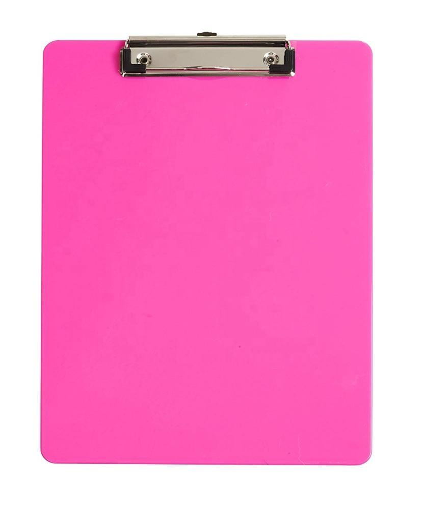Office Stationery Classroom Supplies Low Profile Clip Standard A4 Size Plastic Clipboards