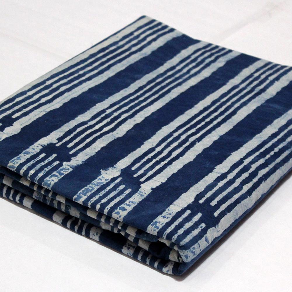 Indigo Blue Fabric Dabu Bagru Print Textile