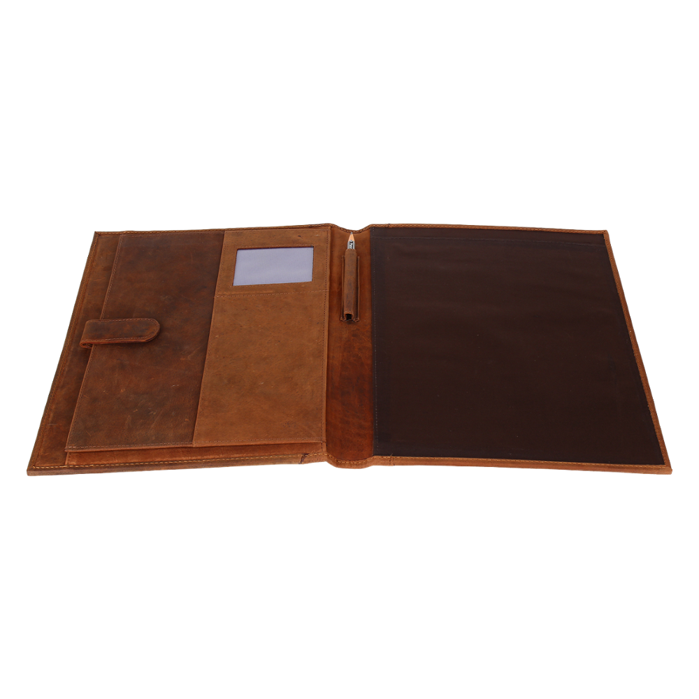 Business Leather Padfolio Leather Portfolio Organizer Men & Women Durable Leather Padfolio Brown