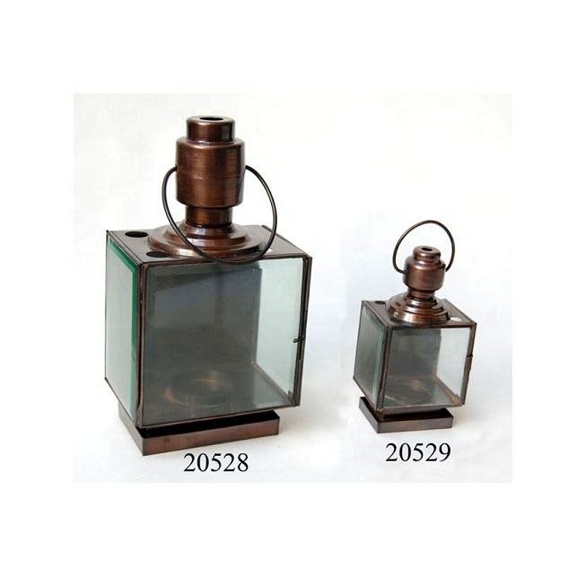Bronze Finished Iron Candle Lantern For Home And Garden Decorations Factory Made Windproof Metal Candle Lantern