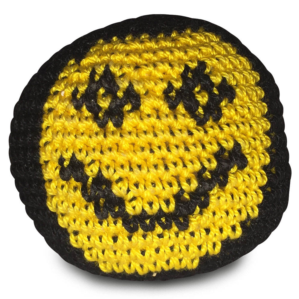 2020 New 2 panel eco friendly cheap emoji fabric knitted hacky sack footbag ball