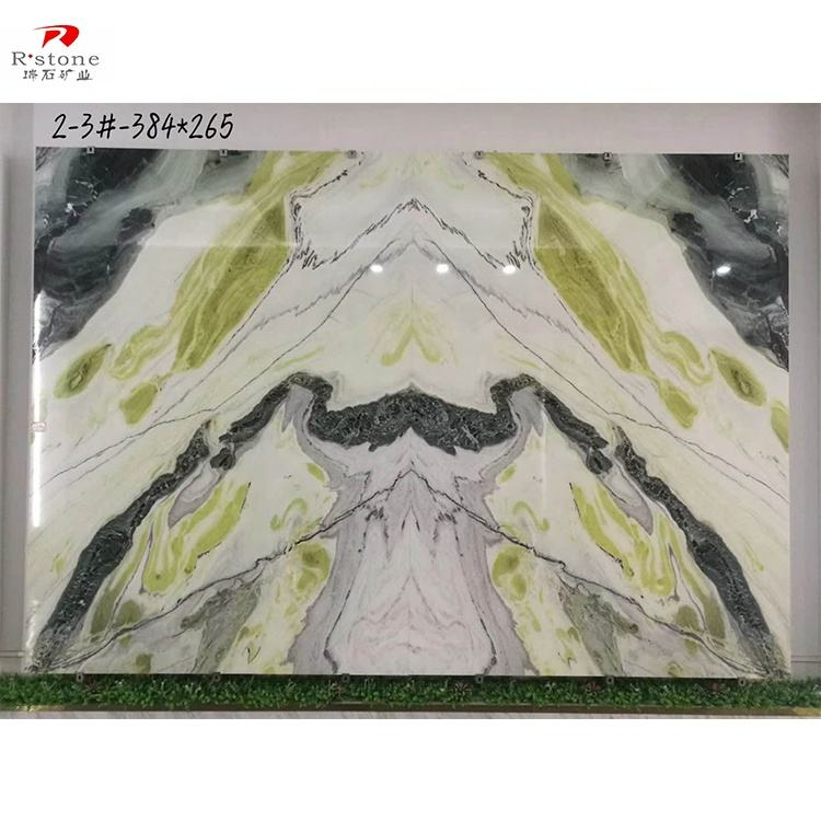 Translucent dreaming green onyx marble natural green onyx semi precious stone for tv background