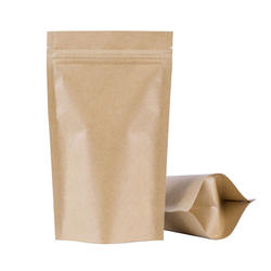 Resealable Stand Up Pouch Kraft Paper Ziplock Bags For Snack Cookies Nuts Packaging