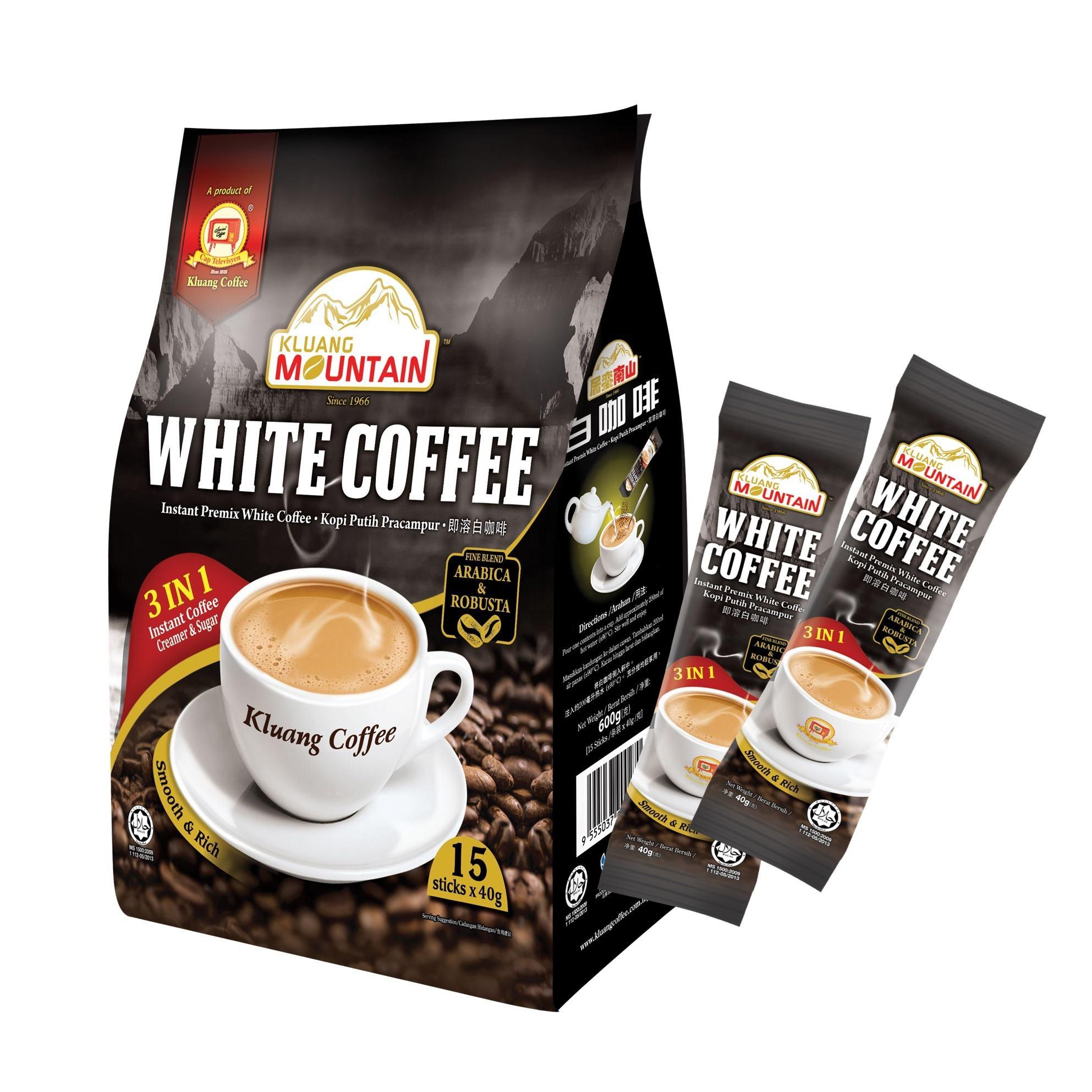 Kluang Mountain Instant White Coffee 3 in 1 Malaysia HALAL (15 sticks x 40g) Televisyen Brand Net Weight 600g